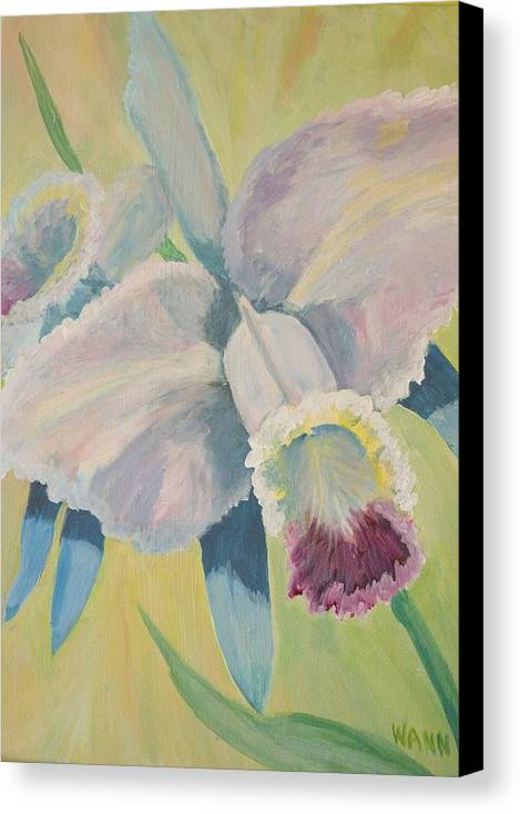 Flower Canvas Print featuring the painting Orchid by Anita Wann