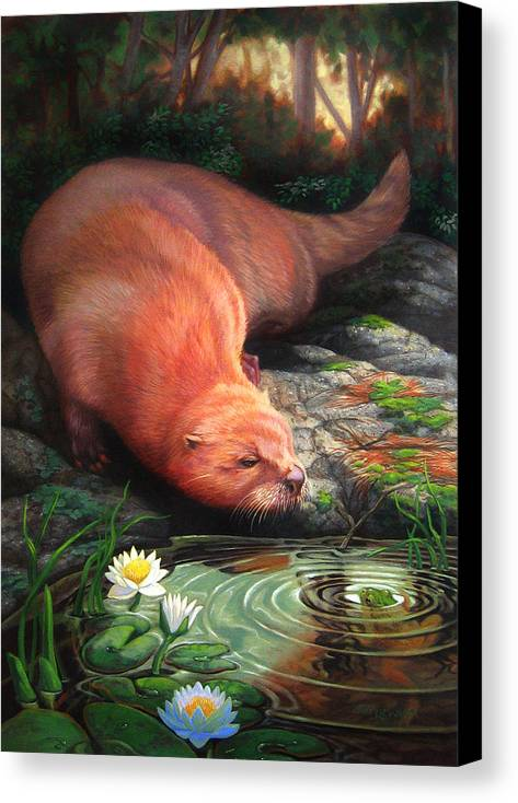 Otter Canvas Print featuring the painting Otter by Pat Lewis