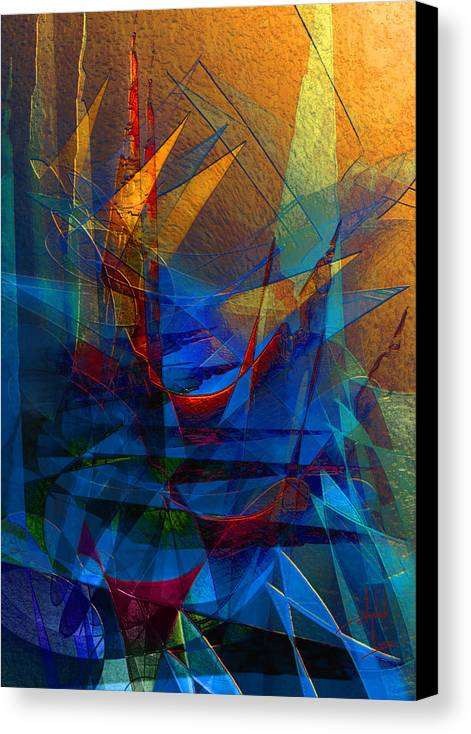 Abstract Canvas Print featuring the digital art Stairway Upon Grail Passeges by Stephen Lucas