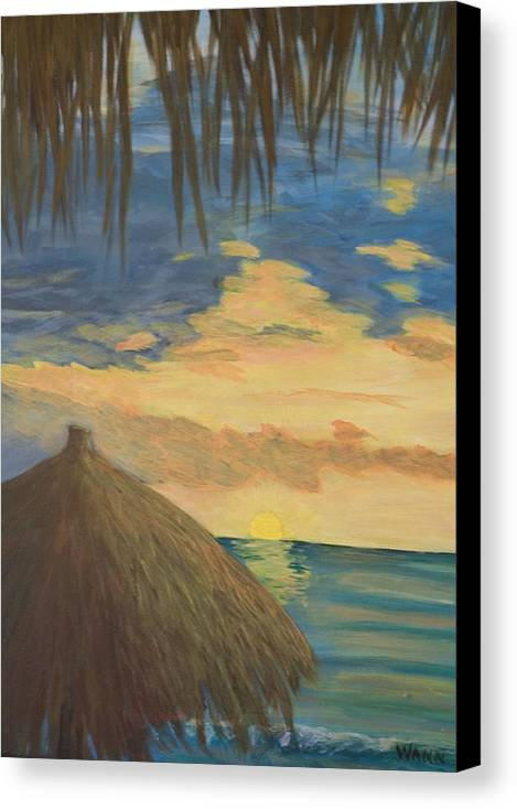 Seascape Canvas Print featuring the painting Sunset by Anita Wann