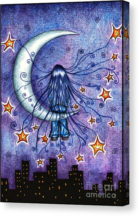 Moonchild Canvas Print featuring the drawing Moonchild by Alex Greenshpun