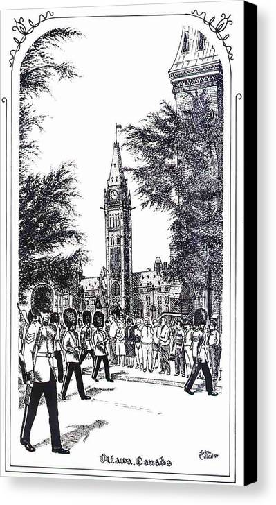 Cityscape Canvas Print featuring the mixed media Changing Of The Guard Ottawa 1995 by John Cullen