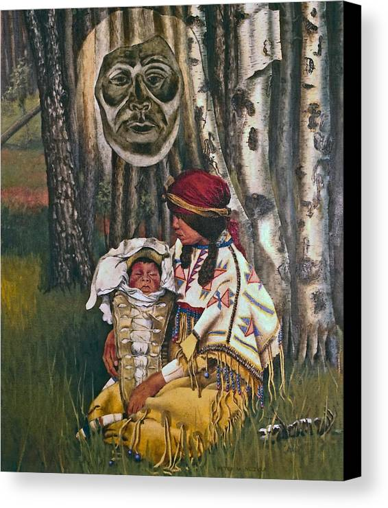 Native American Canvas Print featuring the painting Birth Spirit by Peter Muzyka