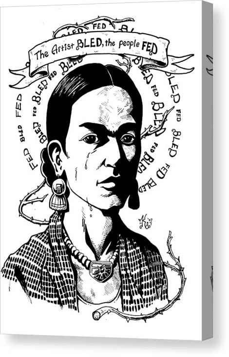 Frida Canvas Print featuring the drawing Frida by Marcus Anderson