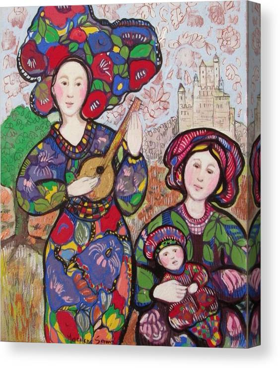 Music Canvas Print featuring the painting Music to motherhood by Marilene Sawaf