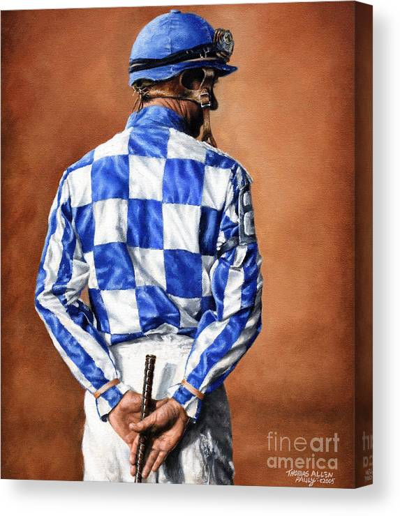 Secretariat Canvas Print featuring the painting Waiting for Secretariat by Thomas Allen Pauly