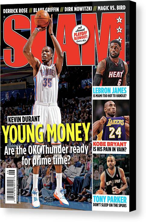 Kevin Durant Canvas Print featuring the photograph Kevin Durant: Young Money SLAM Cover by Getty Images