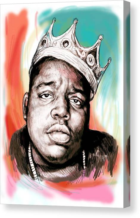 Biggie Smalls Colour Drawing Art Poster - Pop Art Canvas Print featuring the painting Biggie smalls colour drawing art poster by Kim Wang