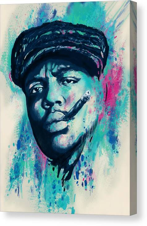 Biggie Smalls Colour Drawing Art Poster - Pop Art Canvas Print featuring the drawing Biggie smalls Modern art drawing poster by Kim Wang