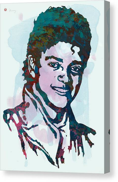 Michael Jackson Stylised Pop Art Drawing Sketch Poster. Pop Art Canvas Print featuring the drawing Michael Jackson stylised pop art poster by Kim Wang