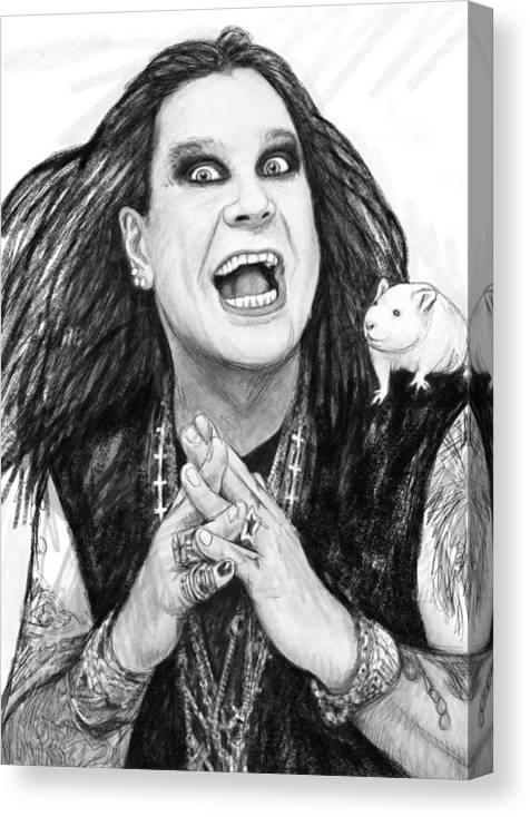 OZZY OSBOURNE WITH CHARCOAL SOFT PASTEL PAINT   PRINT ON   FRAMED CANVAS