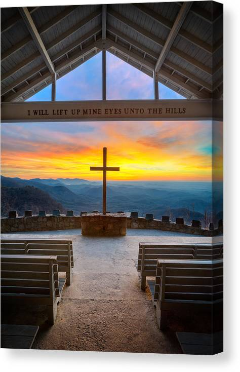 Pretty Place Chapel Canvas Print featuring the photograph South Carolina Pretty Place Chapel Sunrise Embraced by Dave Allen
