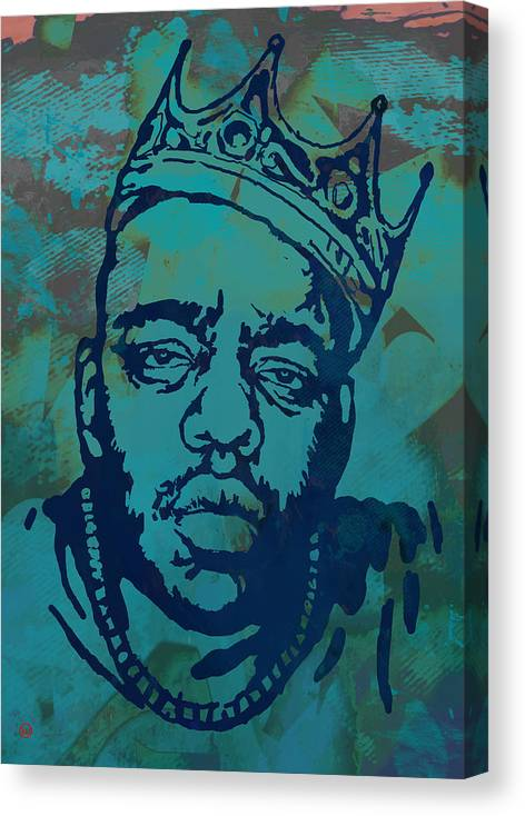 Biggie Smalls Colour Drawing Art Poster - Pop Art Canvas Print featuring the drawing Biggie smalls Modern etching art poster by Kim Wang
