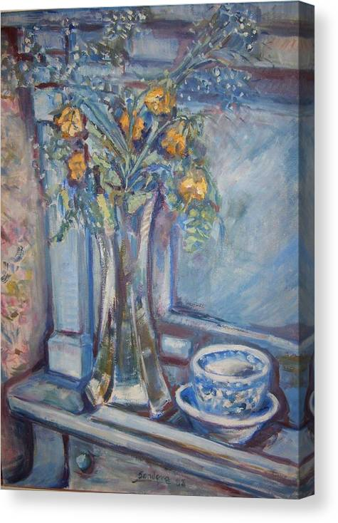 Still Life Flowers Roses Piano Canvas Print featuring the painting Roses On Piano by Joseph Sandora Jr