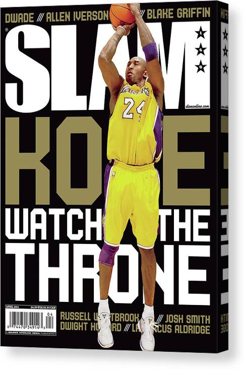 Kobe Bryant Canvas Print featuring the photograph Kobe: Watch the Throne SLAM Cover by Getty Images