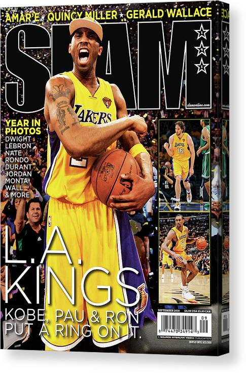 Kobe Bryant Canvas Print featuring the photograph L.A. Kings: Kobe, Pau & Ron Put a Ring on It SLAM Cover by Getty Images