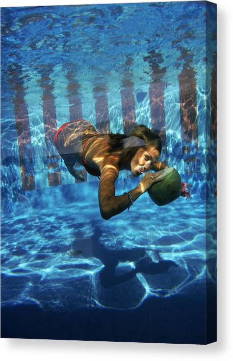 Underwater Canvas Print featuring the photograph Underwater Drink by Slim Aarons
