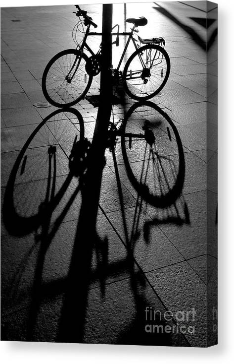 Bicycle Canvas Print featuring the photograph Bicycle shadow by Sheila Smart Fine Art Photography