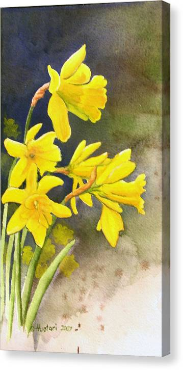 Rick Huotari Canvas Print featuring the painting Daffodils by Rick Huotari