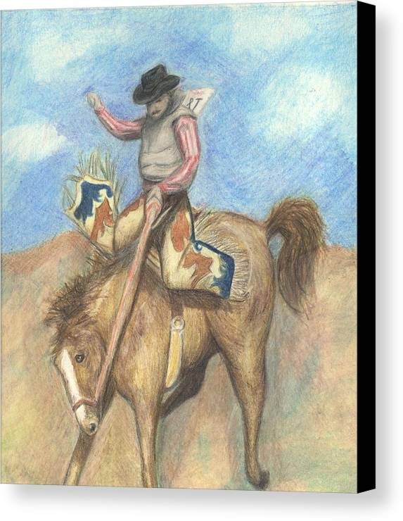 Rodeo Canvas Print featuring the drawing Rough Rider by Jennifer Skalecke
