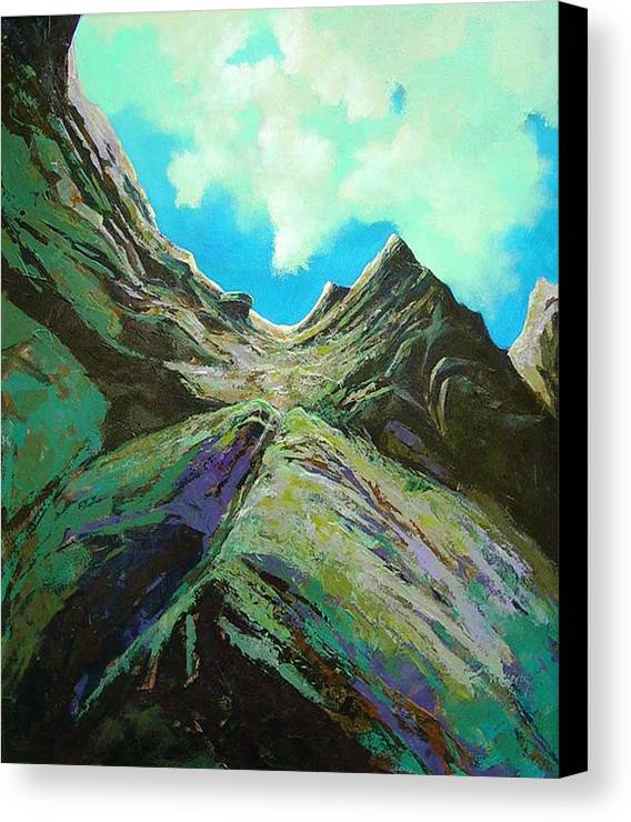Landscape Canvas Print featuring the painting The Climb by Dale Witherow