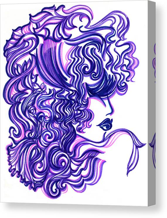 Eve Collection Canvas Print featuring the mixed media Lady Violet by Judith Herbert