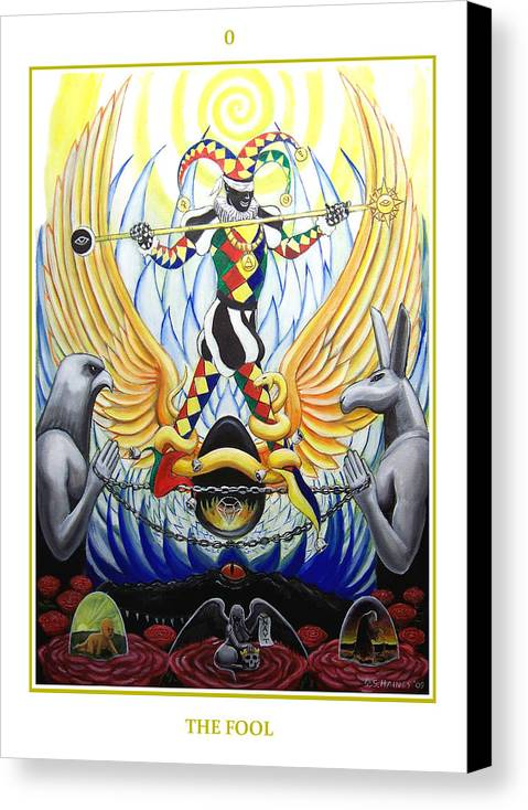 Tarot Canvas Print featuring the painting 0 The Fool by Sebastian Haines