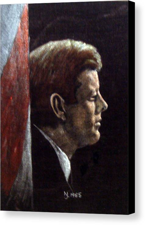 Jfk Canvas Print featuring the painting John F. Kennedy by Norman F Jackson