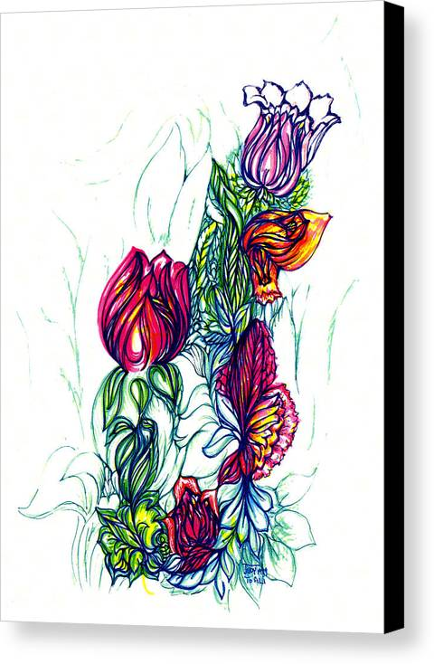 The Garden Of Eden Collection Canvas Print featuring the drawing Natures Beauty by Judith Herbert