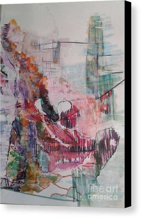 Abstract Canvas Print featuring the painting Our Mom Is A Doll by Subrata Bose