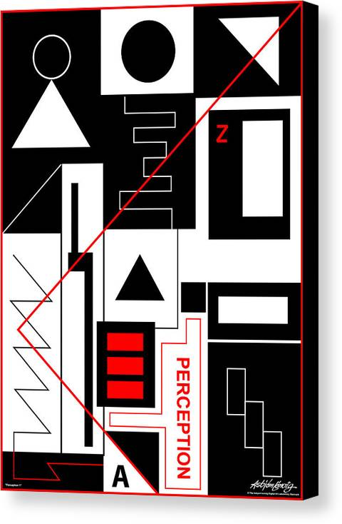 Perception Canvas Print featuring the digital art Perception I - Text by Asbjorn Lonvig