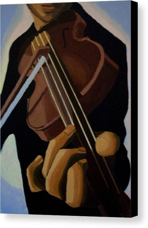 Portrait Canvas Print featuring the painting Violin Player by Mats Eriksson