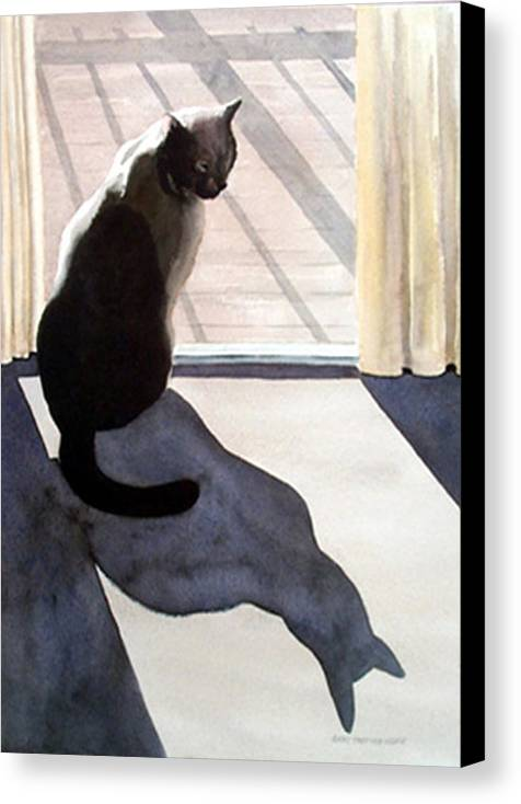 Cat Canvas Print featuring the print Waiting To Go Out by Anne Trotter Hodge