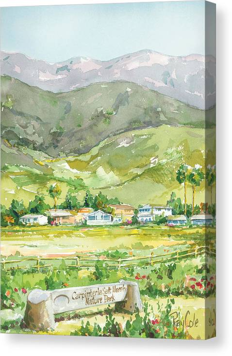 Nature Canvas Print featuring the painting Carpinteria Salt Marsh Nature Park by Ray Cole