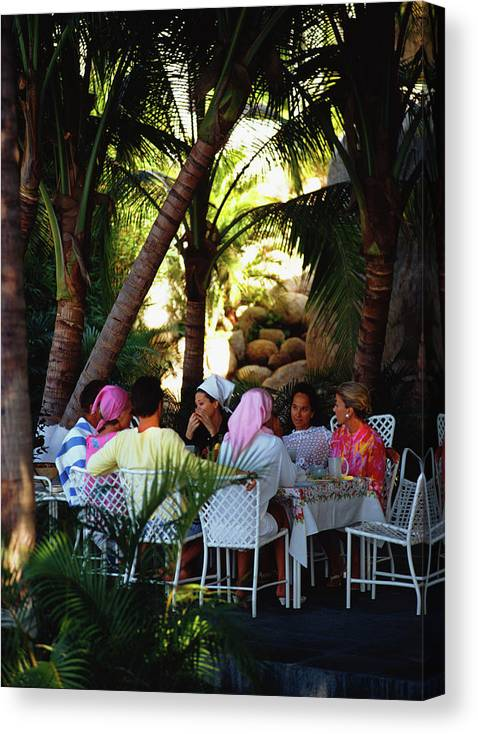 People Canvas Print featuring the photograph Oberons Lunch by Slim Aarons