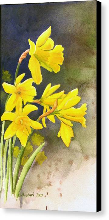 Rick Huotari Canvas Print featuring the painting Daffodils by Rick Huotari