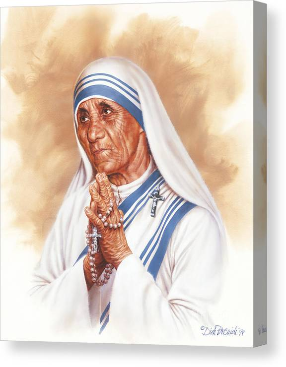 Portrait Canvas Print featuring the painting Mother Teresa by Dick Bobnick