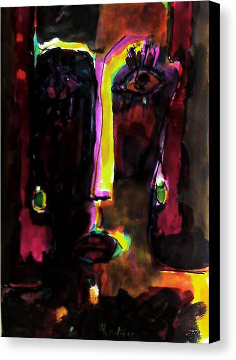 Canvas Print featuring the painting Face by Rafiq Abduljabbar