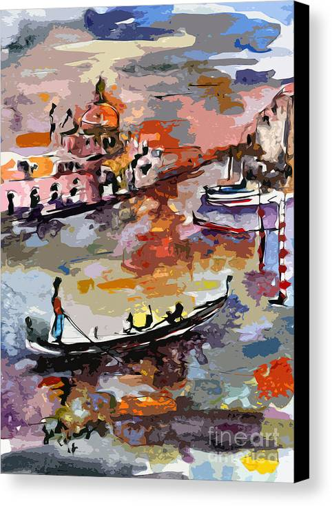 Italy Canvas Print featuring the painting Abstract Venice Italy Gondolas by Ginette Callaway
