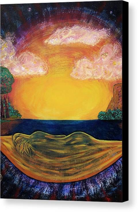 Goddess Canvas Print featuring the painting Dreaming Goddess by Eric Singleton