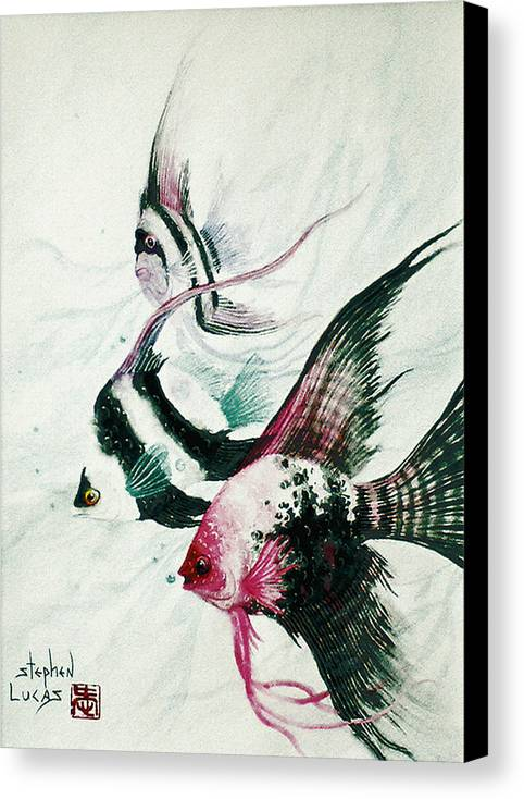 Fish Canvas Print featuring the painting Neptunes Trio by Stephen Lucas