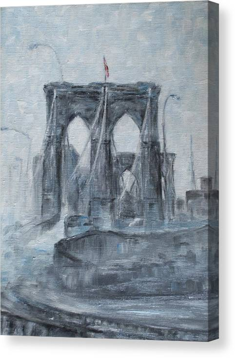 Brooklyn Canvas Print featuring the painting Brooklyn Bridge by Natia Tsiklauri