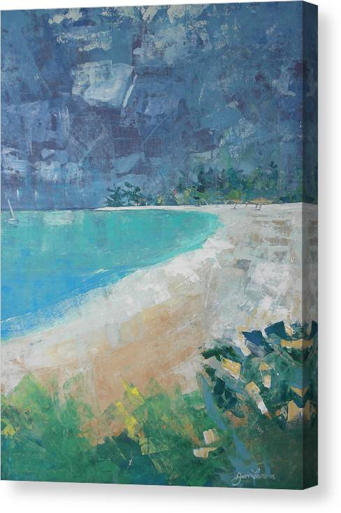 Impressionist Canvas Print featuring the painting Jumby Beach by Jan Farara
