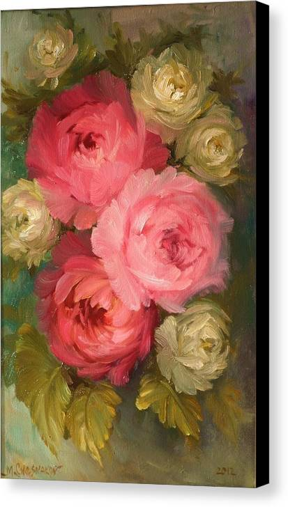 Flowers Canvas Print featuring the painting Roses by Michael Chesnakov