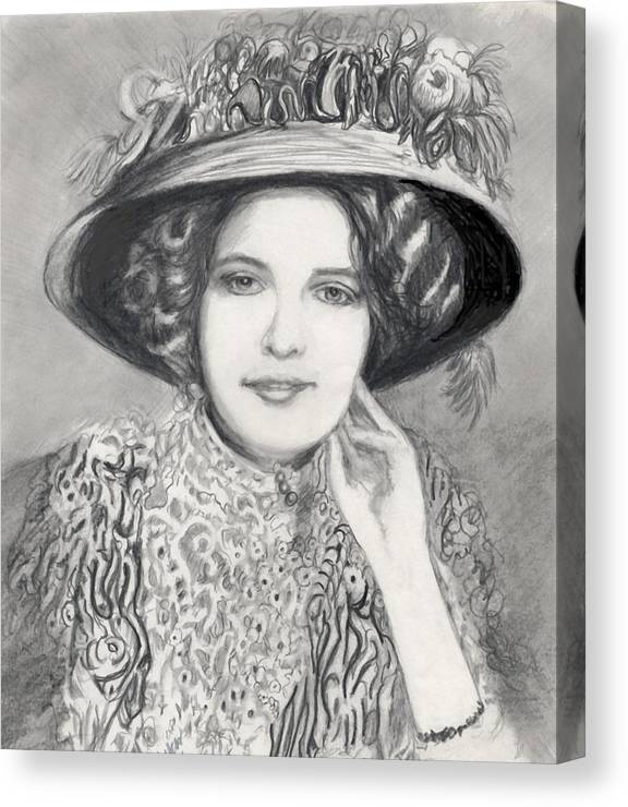 Maud Victorian Dressed Up Smile Woman Canvas Print featuring the print Maud - In Her Finery by Carliss Mora