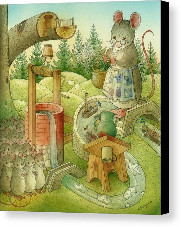 Landscape Canvas Print featuring the painting Wrong World by Kestutis Kasparavicius