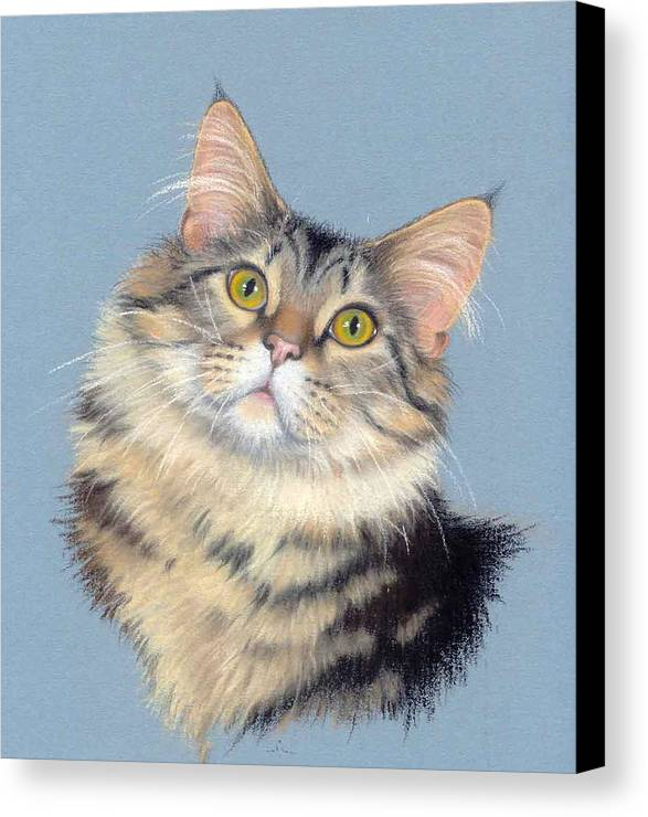 Domestic Animal Canvas Print featuring the painting Cat Portrait by Deb Owens-Lowe