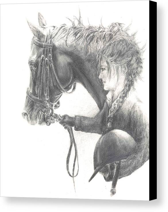 Dressage Canvas Print featuring the drawing One Intent by Barbara Widmann