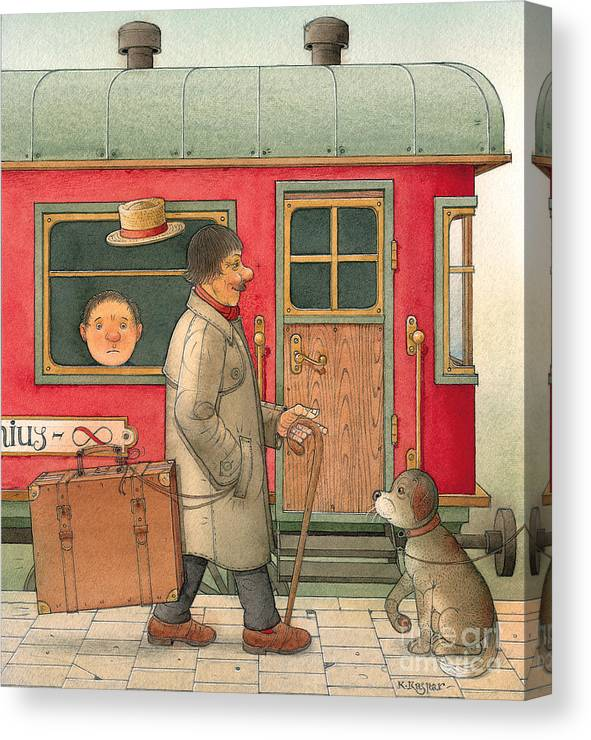 Dream Suitcase Train Trip Travel Canvas Print featuring the painting Dream Suitcase by Kestutis Kasparavicius