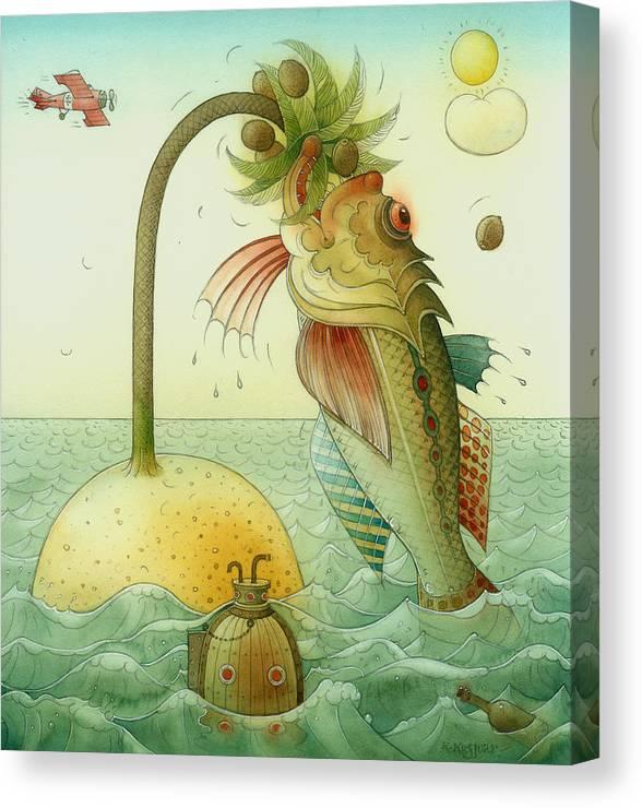 Fish Sea Landscape Canvas Print featuring the painting Fish by Kestutis Kasparavicius